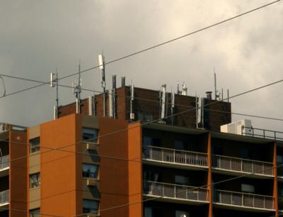Rooftop Cellular Antenna Farm.